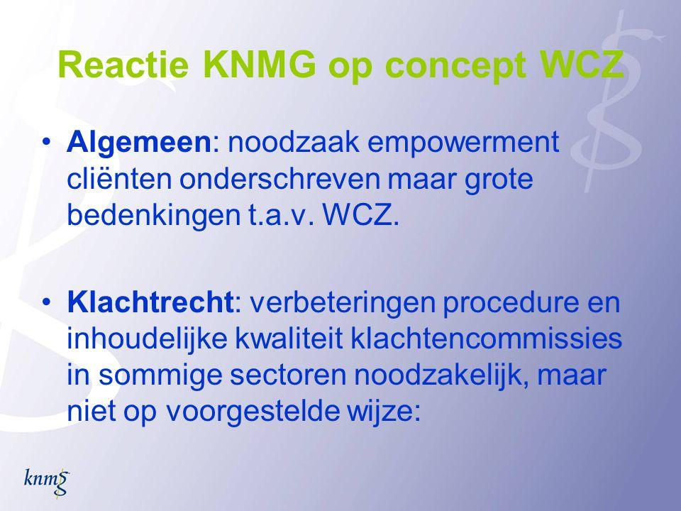 Reactie KNMG op concept WCZ