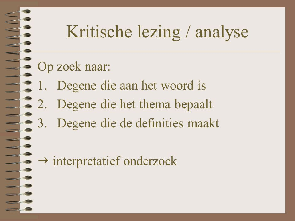 Kritische lezing / analyse