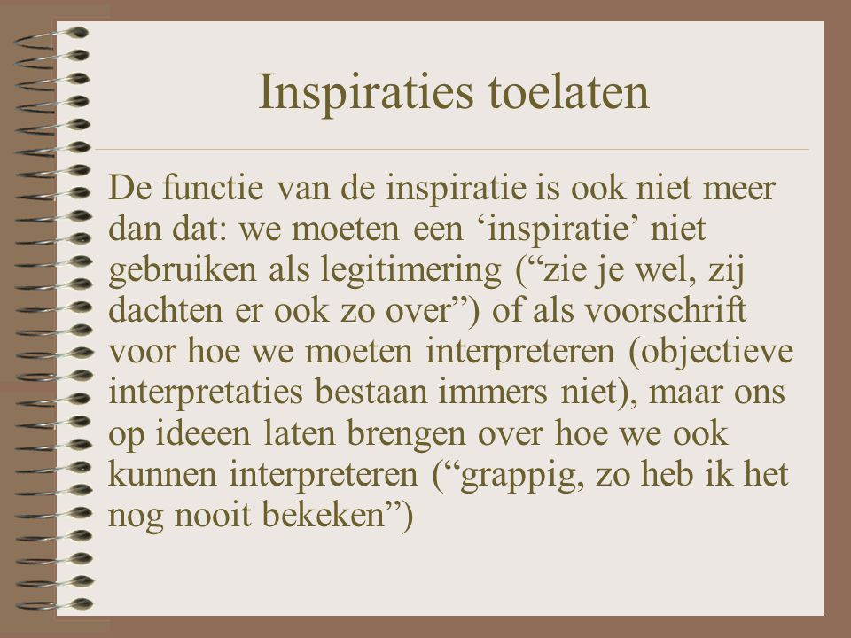 Inspiraties toelaten