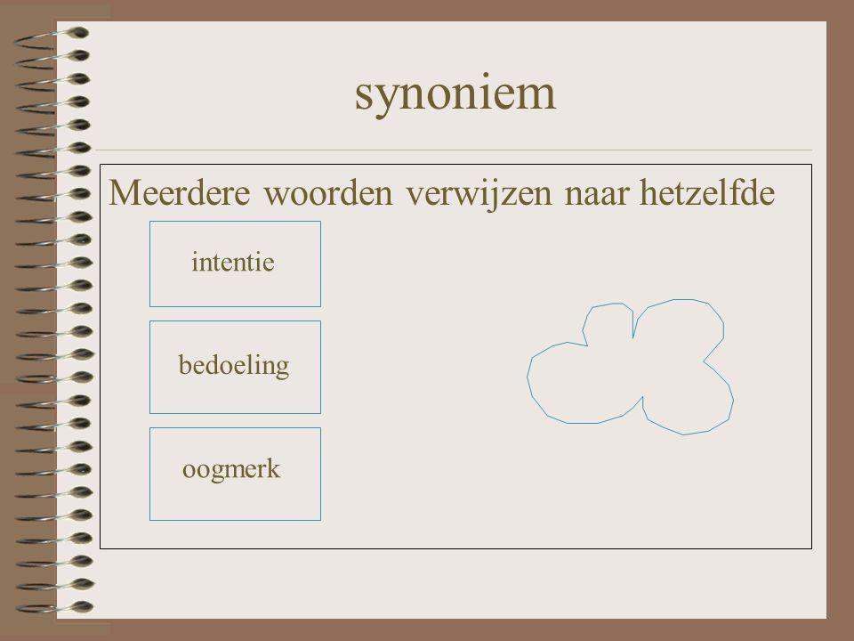 synoniem Meerdere woorden verwijzen naar hetzelfde intentie bedoeling