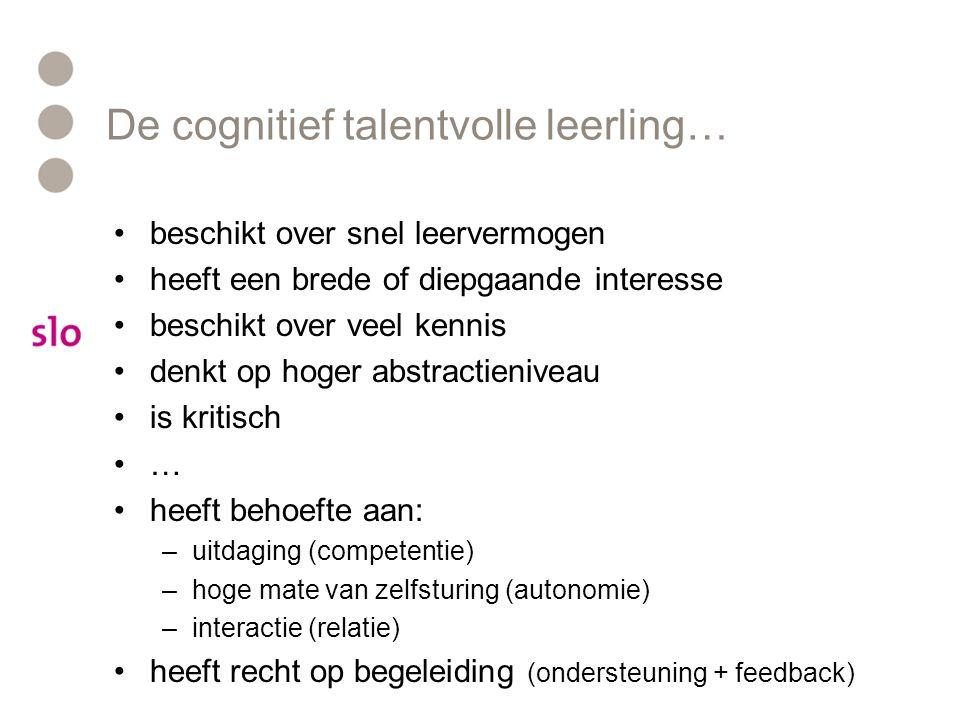 De cognitief talentvolle leerling…