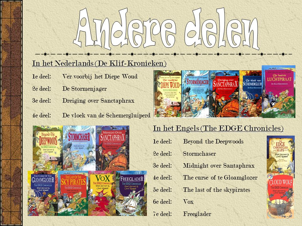 Andere delen In het Nederlands (De Klif-Kronieken)