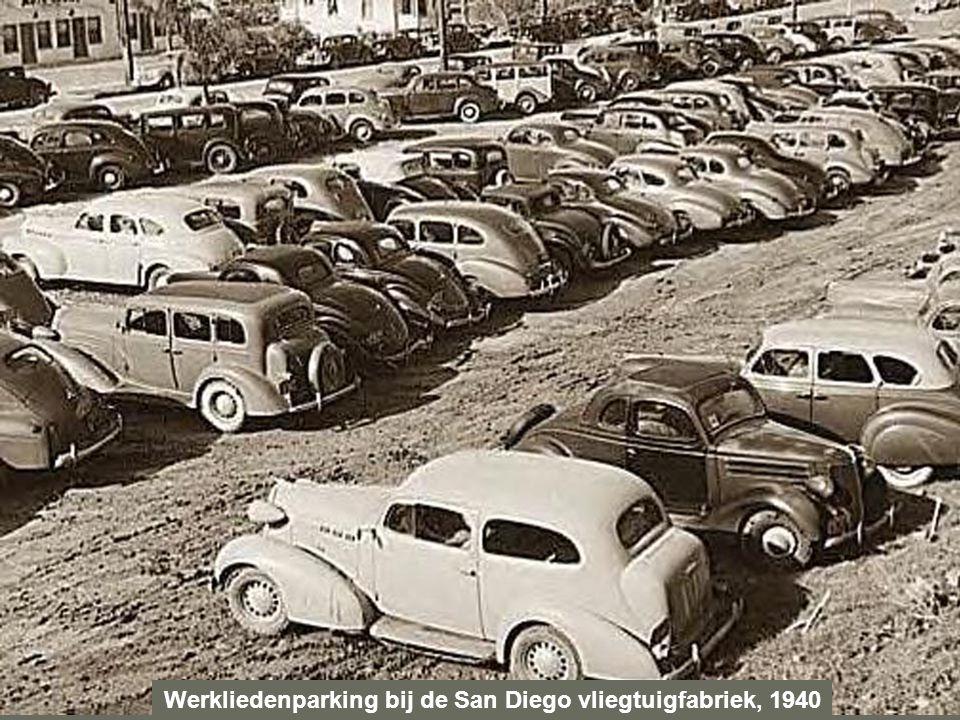 Werkliedenparking bij de San Diego vliegtuigfabriek, 1940
