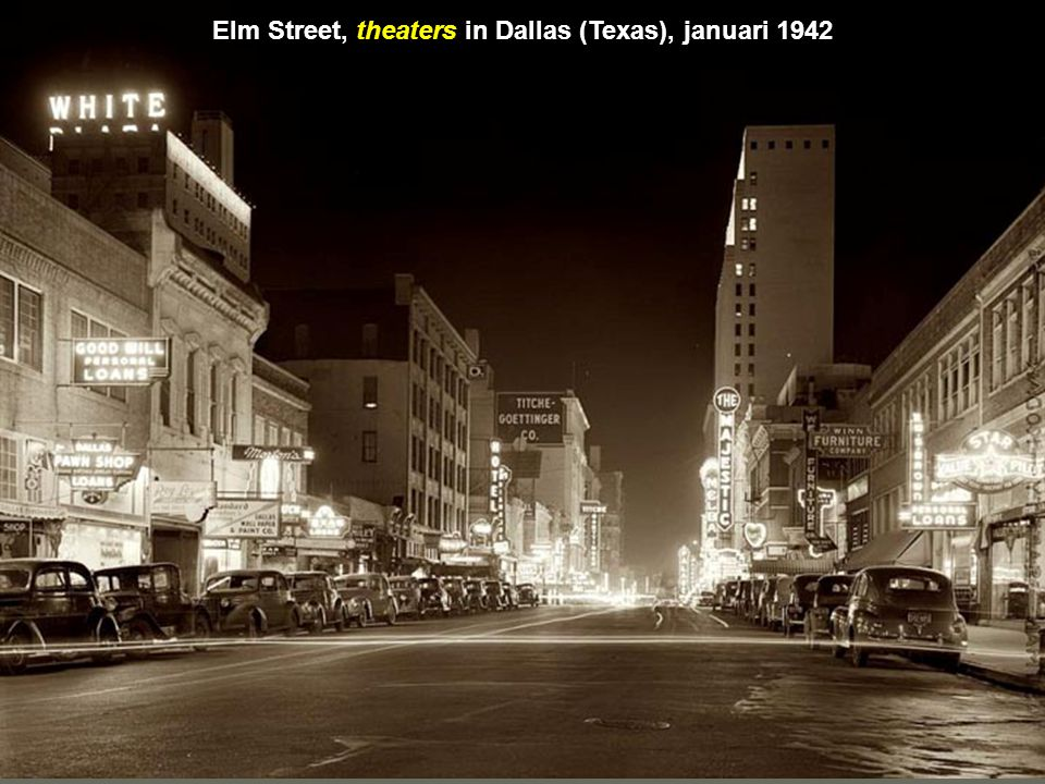 Elm Street, theaters in Dallas (Texas), januari 1942