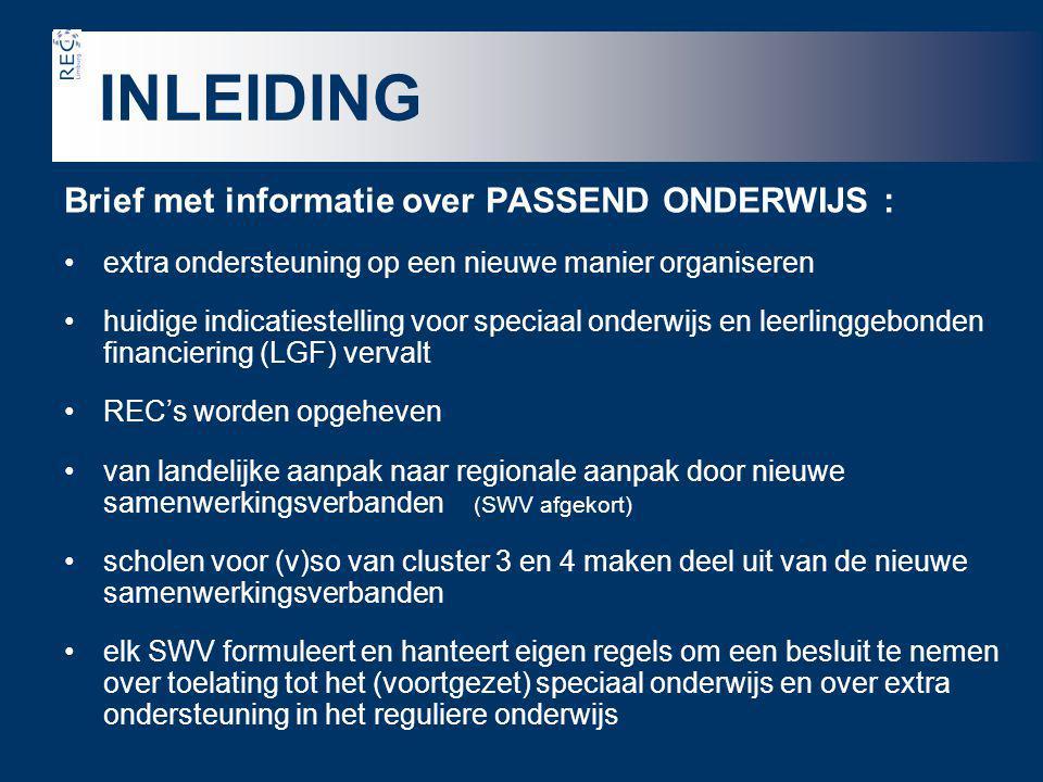 INLEIDING Brief met informatie over PASSEND ONDERWIJS :