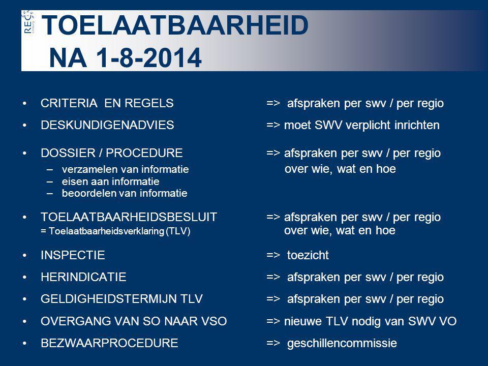 TOELAATBAARHEID NA 1-8-2014 CRITERIA EN REGELS => afspraken per swv / per regio. DESKUNDIGENADVIES => moet SWV verplicht inrichten.