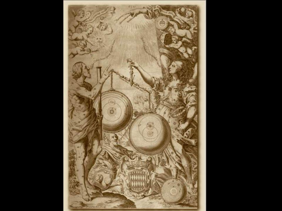 Urania weegt Copernicus wereldbeeld tegen dat van Brahe, Brahe's is het zwaarst. Rechts in de hoek het verworpen systeem van Ptolemeus (midden in beeld!), uit Riccioli's Almages Novum, 1651.