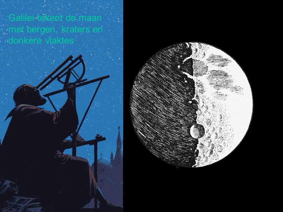Galilei tekent de maan met bergen, kraters en donkere vlaktes