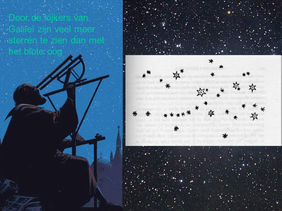 Door de kijkers van Galileï zijn veel meer sterren te zien dan met het blote oog