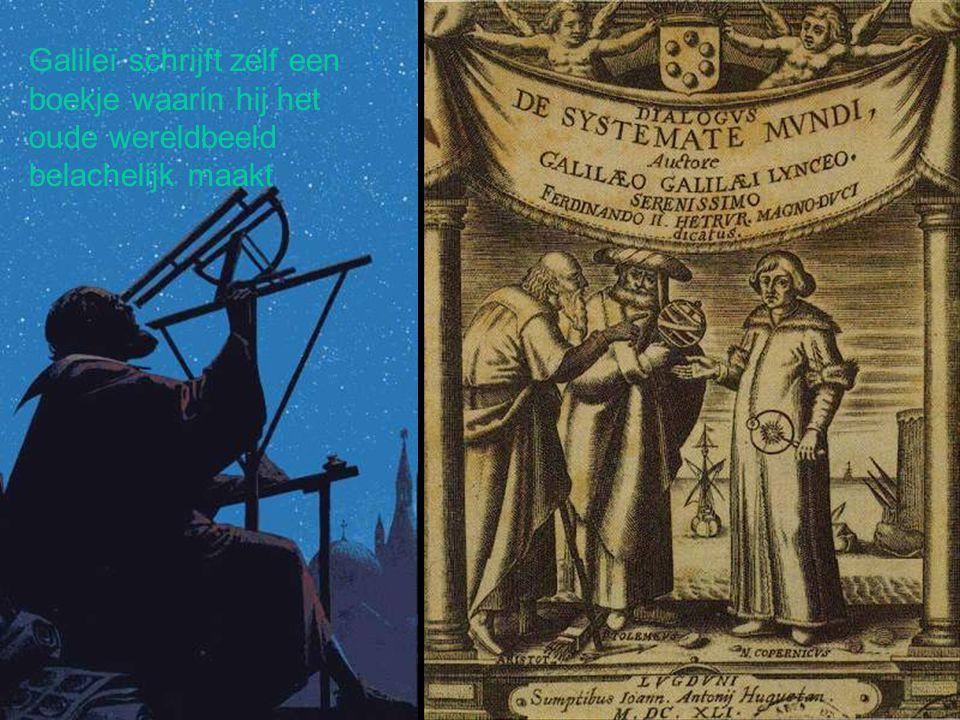 Galileï schrijft zelf een boekje waarin hij het oude wereldbeeld belachelijk maakt