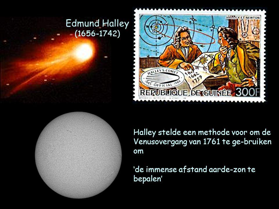 Edmund Halley (1656-1742) Halley stelde een methode voor om de Venusovergang van 1761 te ge-bruiken om.
