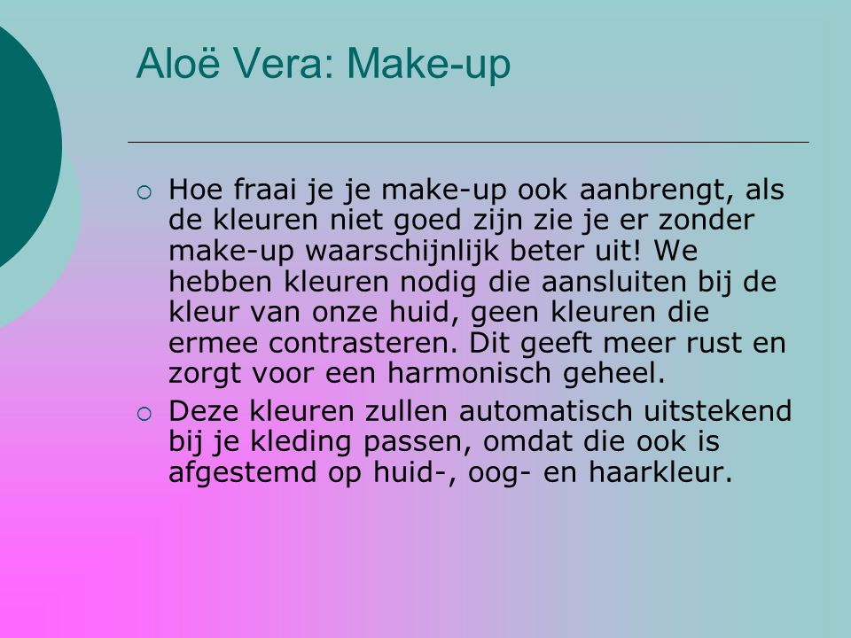 Aloë Vera: Make-up