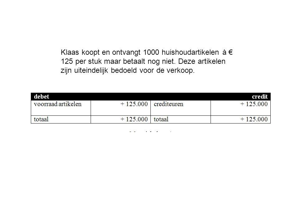 Klaas koopt en ontvangt 1000 huishoudartikelen à € 125 per stuk maar betaalt nog niet.