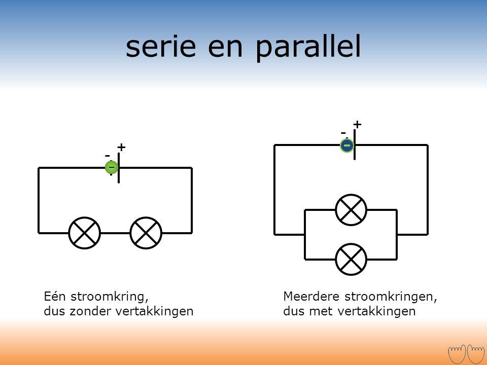 serie en parallel + - + - Eén stroomkring, dus zonder vertakkingen