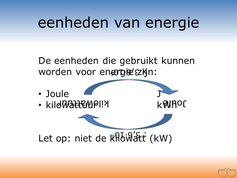 eenheden van energie De eenheden die gebruikt kunnen worden voor energie zijn: Joule J. kilowattuur kWh.