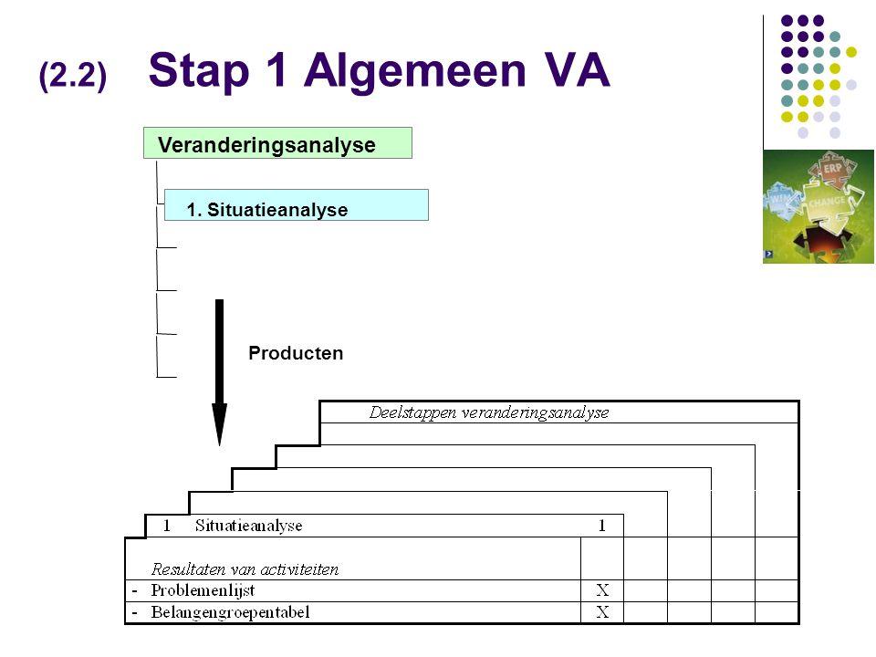 (2.2) Stap 1 Algemeen VA Veranderingsanalyse 1. Situatieanalyse