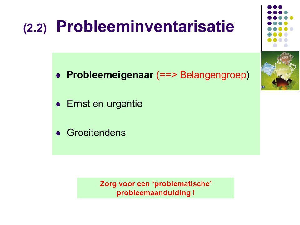 (2.2) Probleeminventarisatie