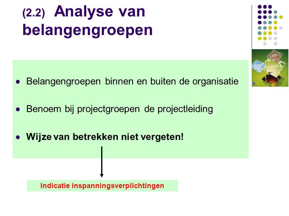 (2.2) Analyse van belangengroepen