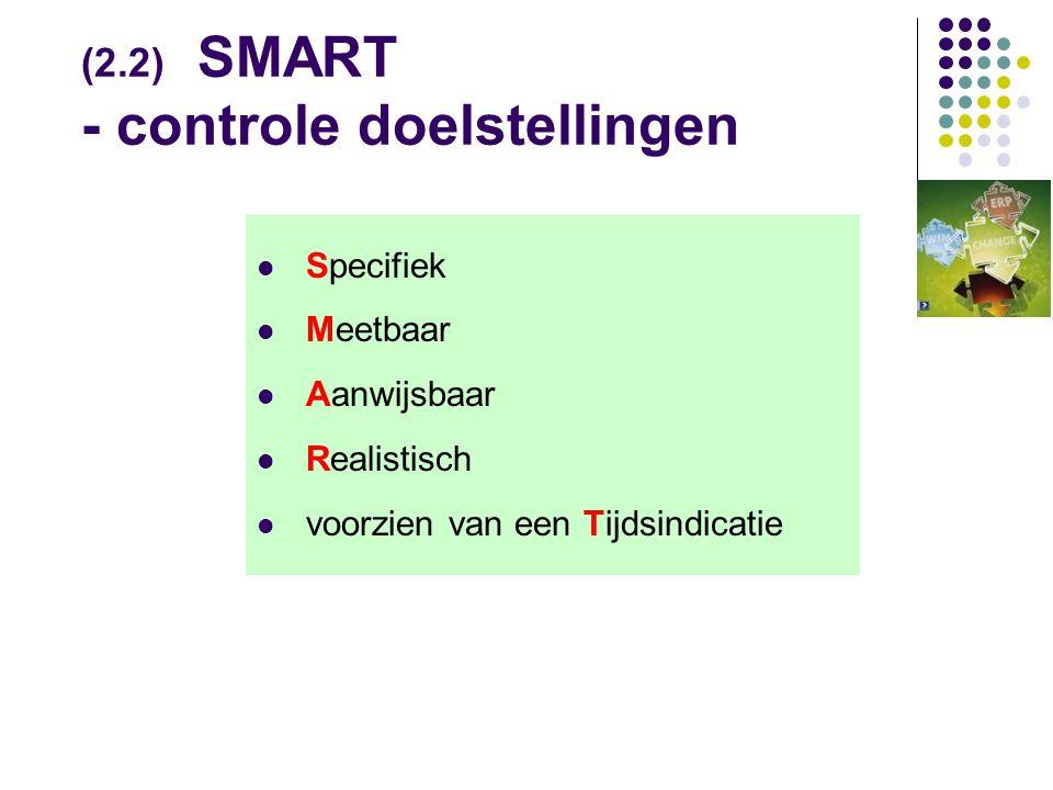 (2.2) SMART - controle doelstellingen
