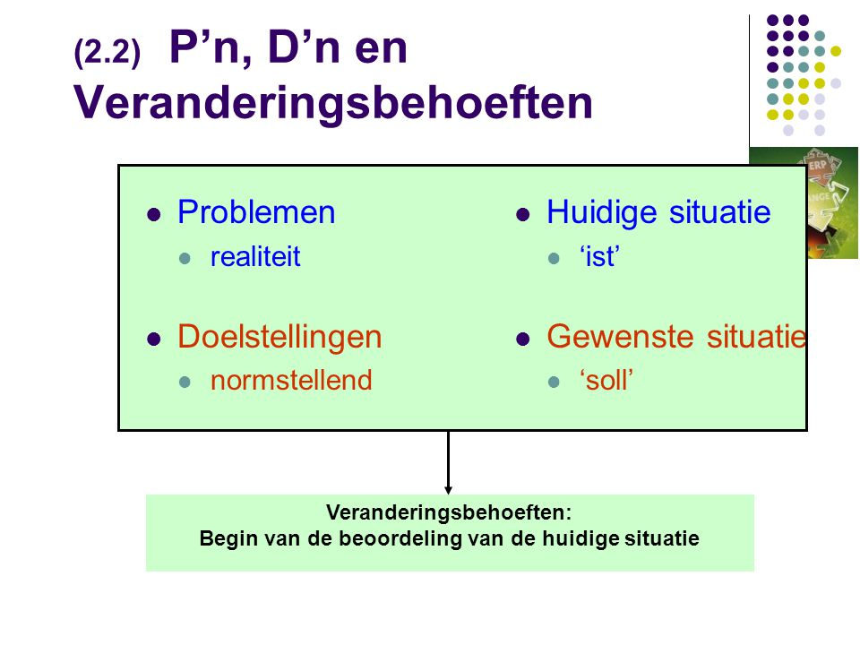 (2.2) P'n, D'n en Veranderingsbehoeften