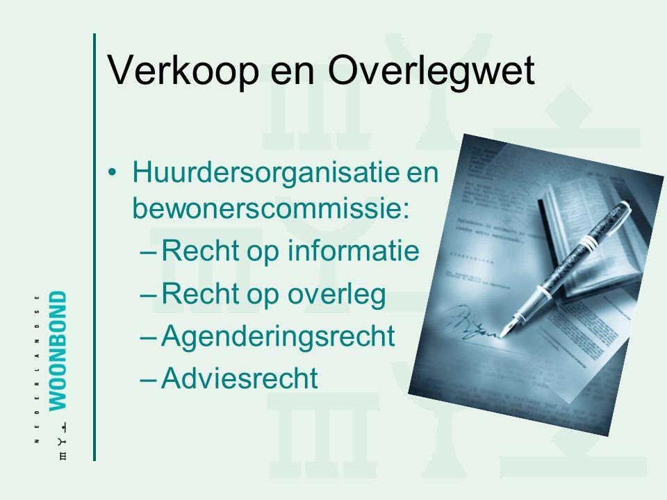 Verkoop en Overlegwet Huurdersorganisatie en bewonerscommissie: