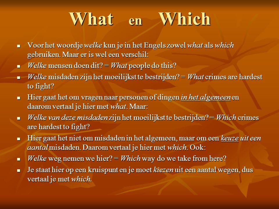 What en Which Voor het woordje welke kun je in het Engels zowel what als which gebruiken. Maar er is wel een verschil: