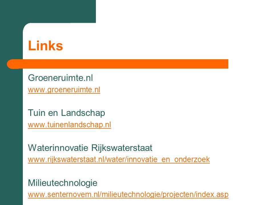Links Groeneruimte.nl Tuin en Landschap Waterinnovatie Rijkswaterstaat