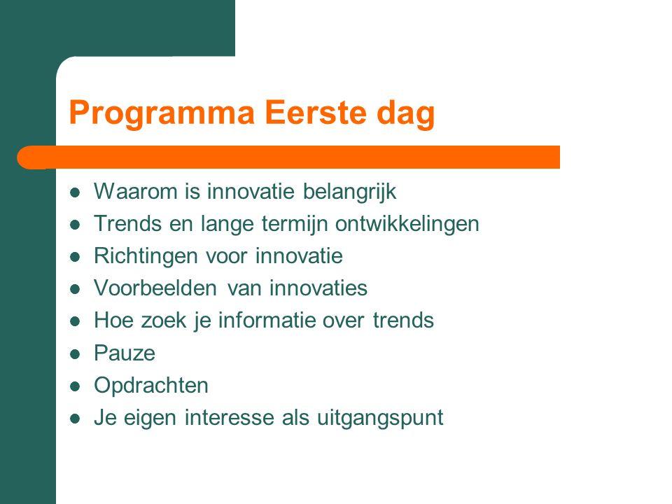 Programma Eerste dag Waarom is innovatie belangrijk