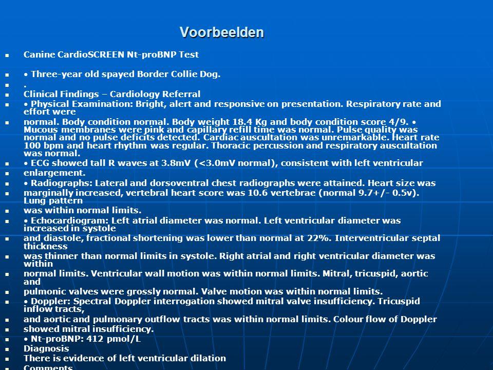 Voorbeelden Canine CardioSCREEN Nt-proBNP Test