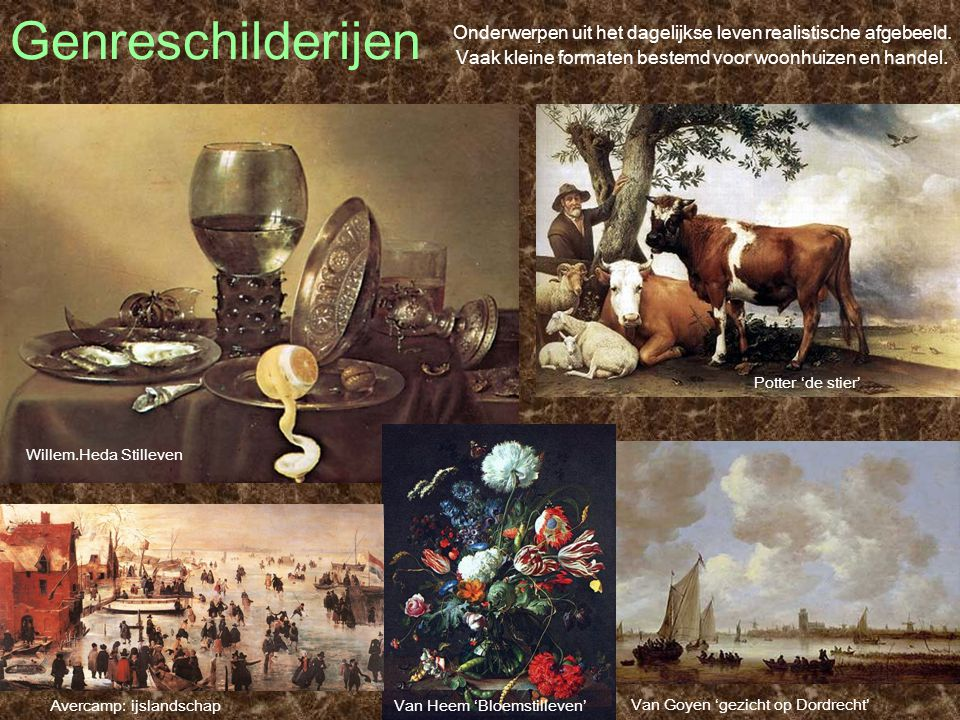 Genreschilderijen Onderwerpen uit het dagelijkse leven realistische afgebeeld. Vaak kleine formaten bestemd voor woonhuizen en handel.