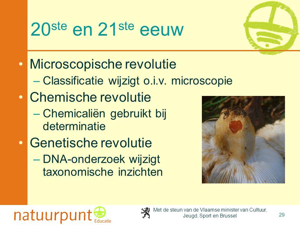 20ste en 21ste eeuw Microscopische revolutie Chemische revolutie
