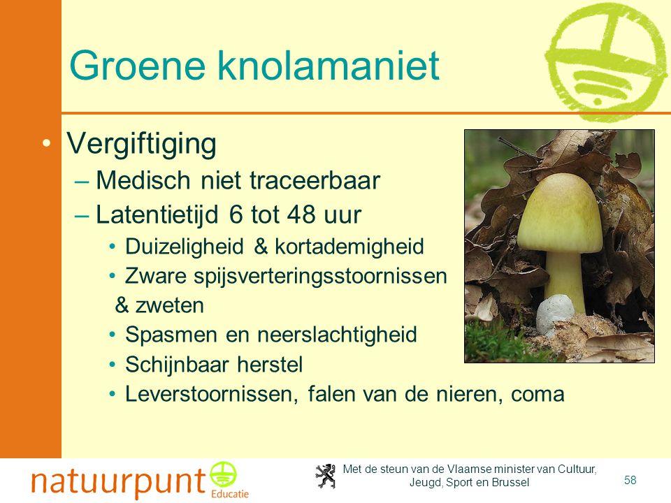 Groene knolamaniet Vergiftiging Medisch niet traceerbaar