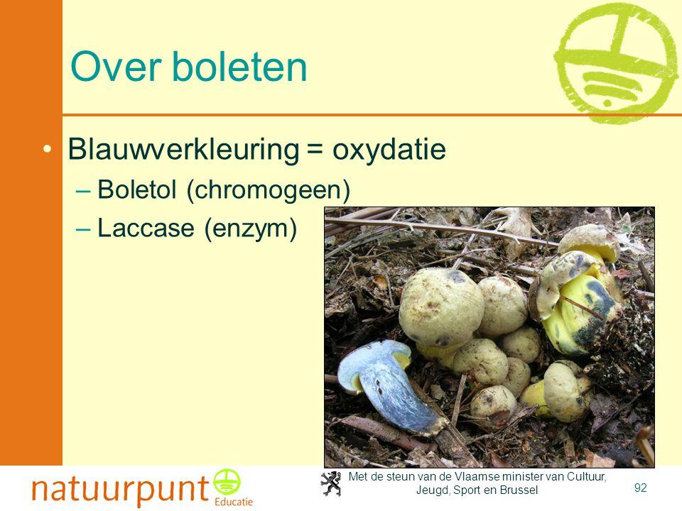 Over boleten Blauwverkleuring = oxydatie Boletol (chromogeen)