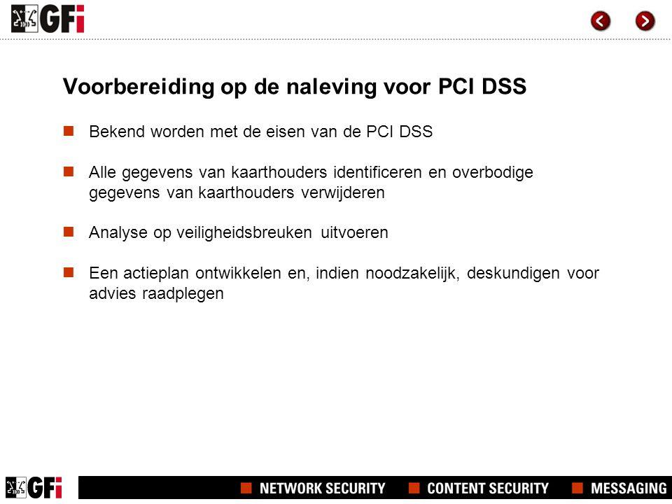 Voorbereiding op de naleving voor PCI DSS