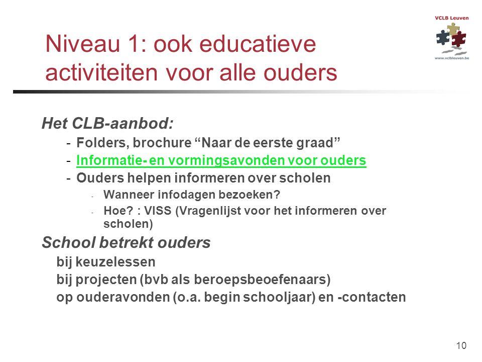 Niveau 1: ook educatieve activiteiten voor alle ouders