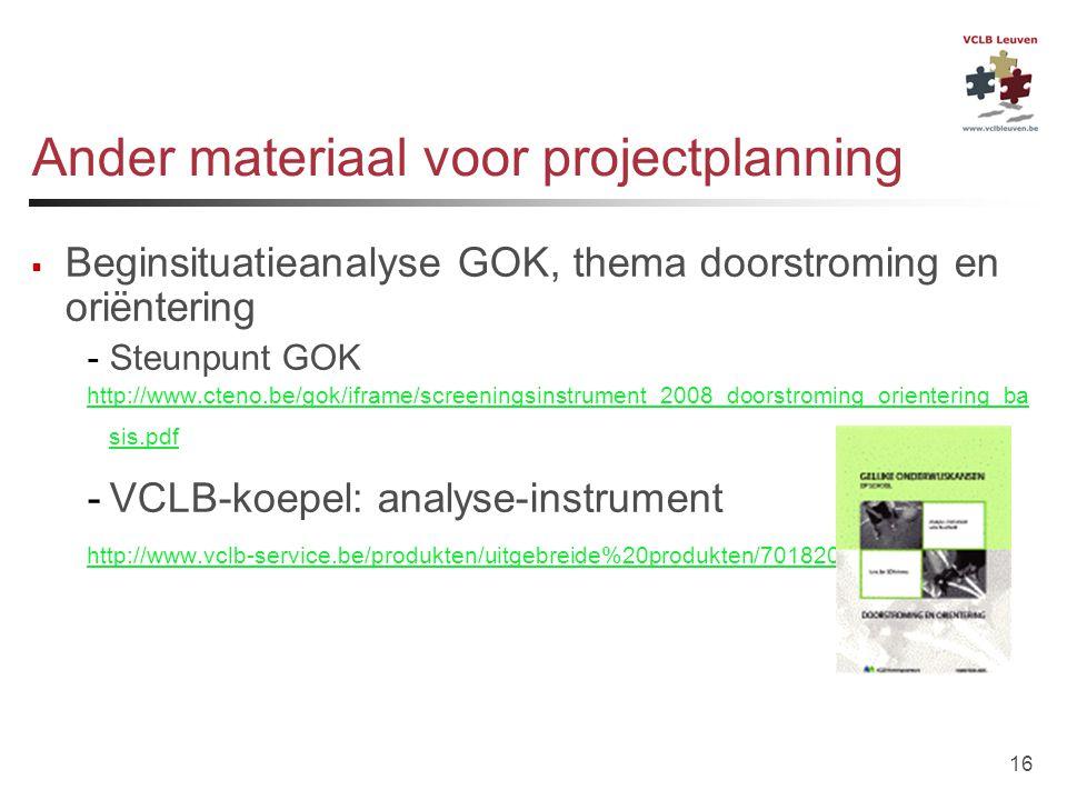 Ander materiaal voor projectplanning
