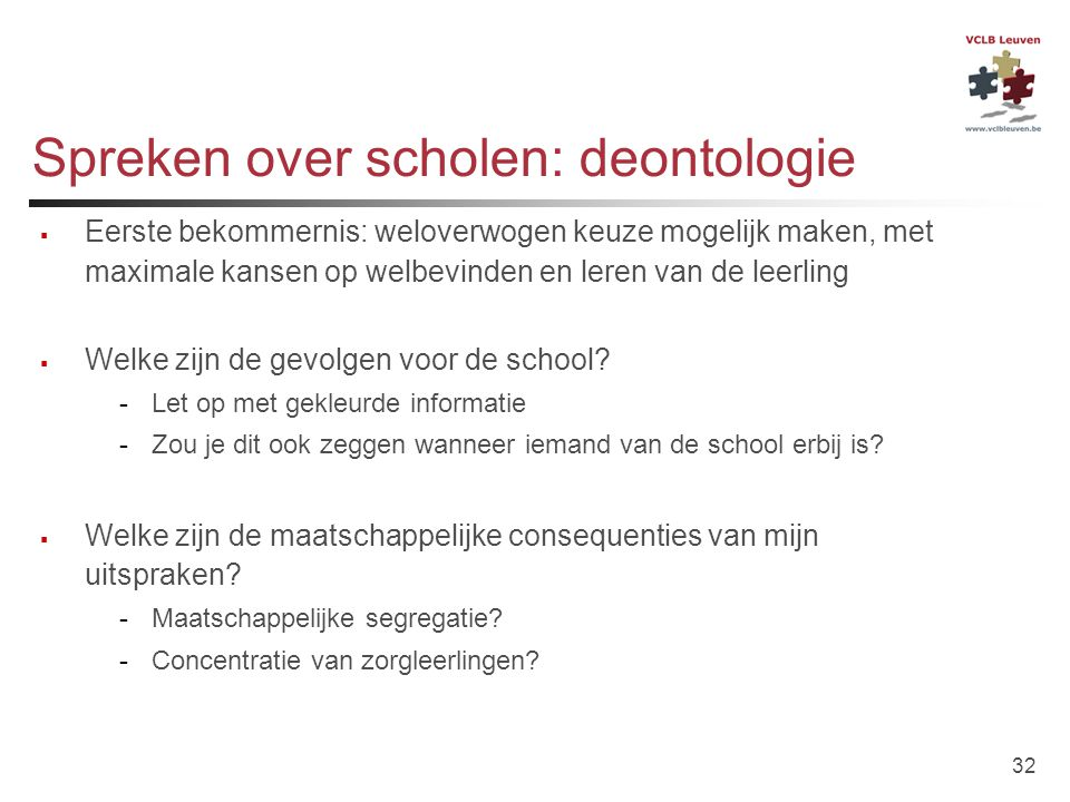 Spreken over scholen: deontologie