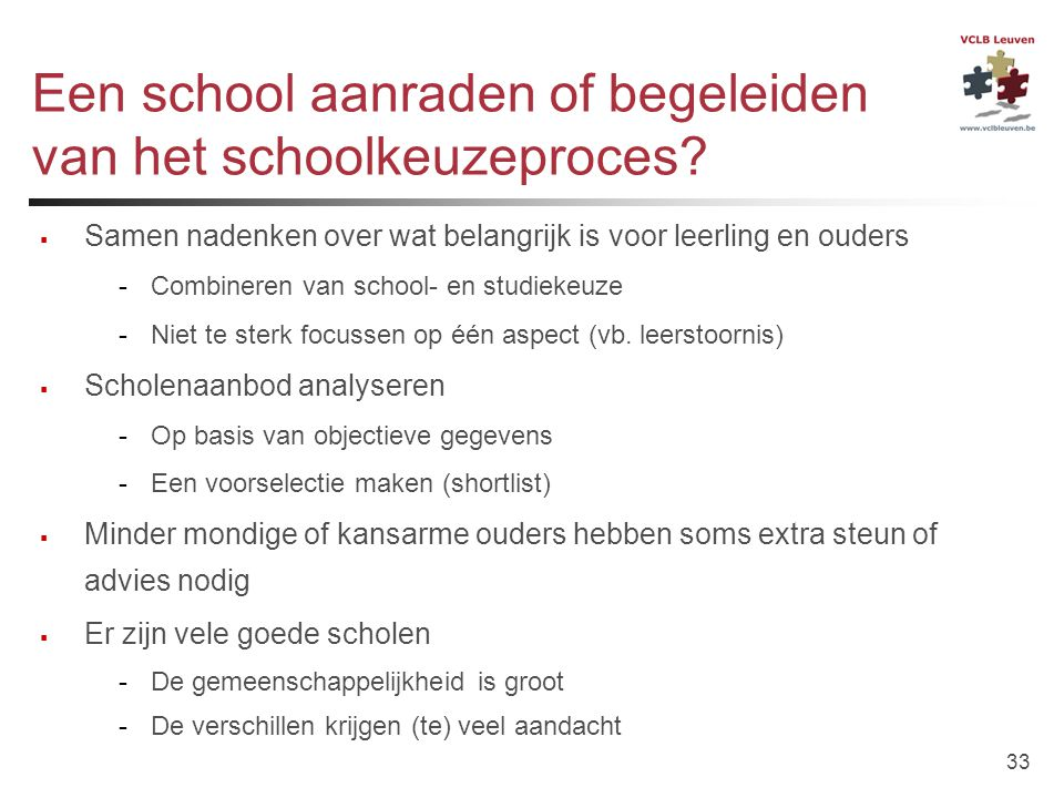Een school aanraden of begeleiden van het schoolkeuzeproces