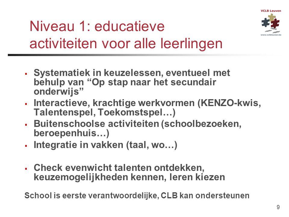 Niveau 1: educatieve activiteiten voor alle leerlingen