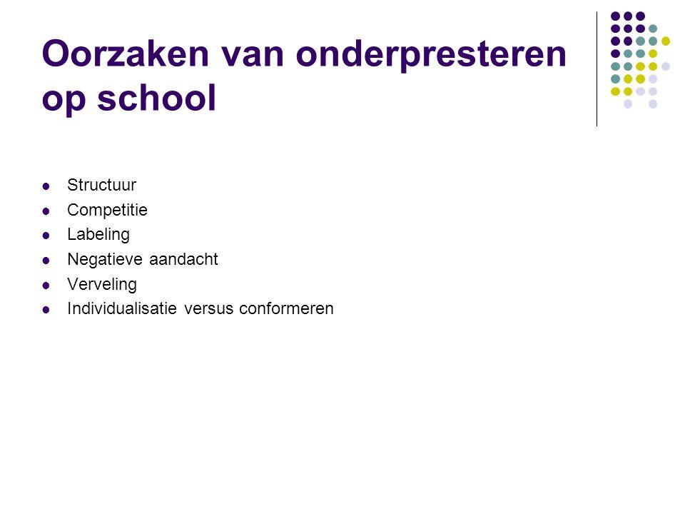 Oorzaken van onderpresteren op school