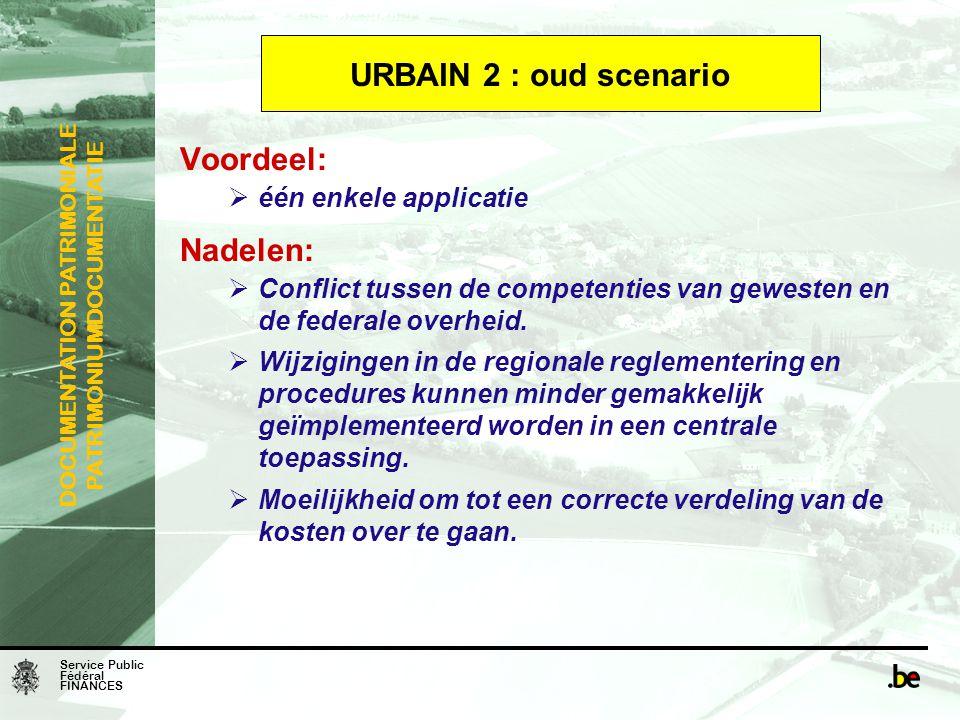 URBAIN 2 : oud scenario Voordeel: Nadelen: één enkele applicatie