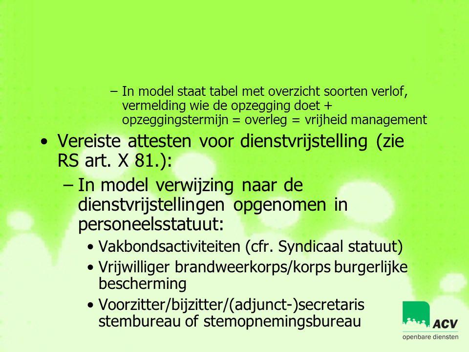 Vereiste attesten voor dienstvrijstelling (zie RS art. X 81.):