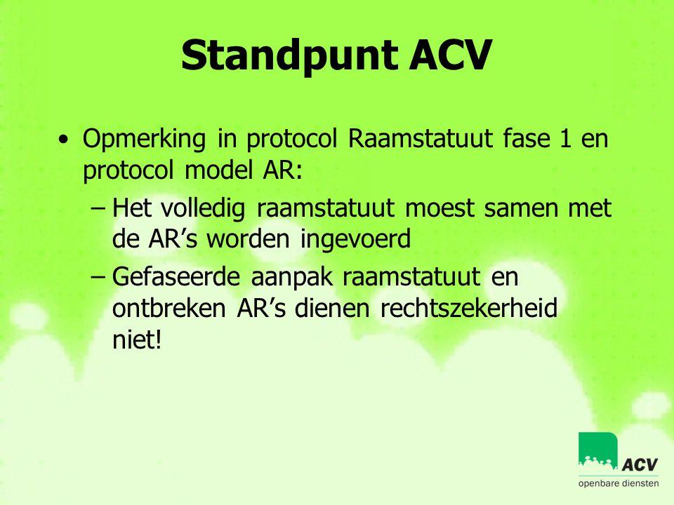Standpunt ACV Opmerking in protocol Raamstatuut fase 1 en protocol model AR: Het volledig raamstatuut moest samen met de AR's worden ingevoerd.
