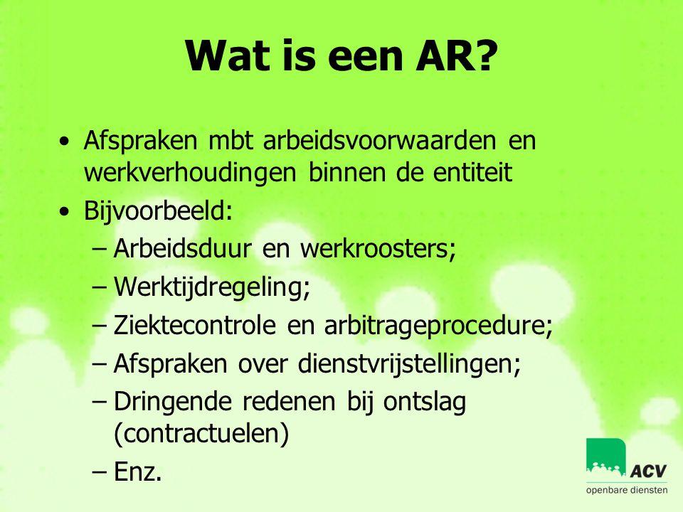 Wat is een AR Afspraken mbt arbeidsvoorwaarden en werkverhoudingen binnen de entiteit. Bijvoorbeeld: