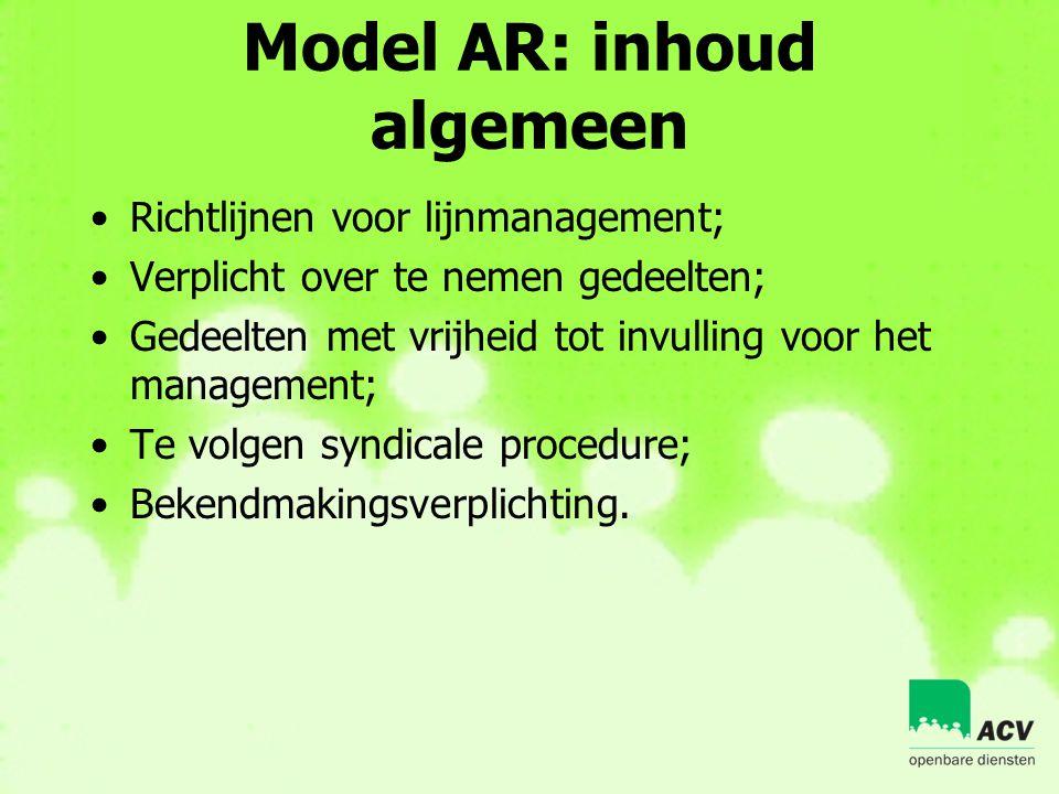 Model AR: inhoud algemeen