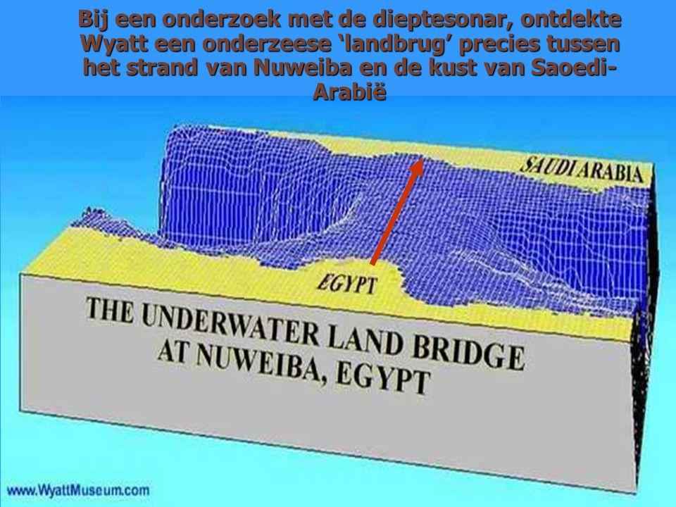 Bij een onderzoek met de dieptesonar, ontdekte Wyatt een onderzeese 'landbrug' precies tussen het strand van Nuweiba en de kust van Saoedi-Arabië