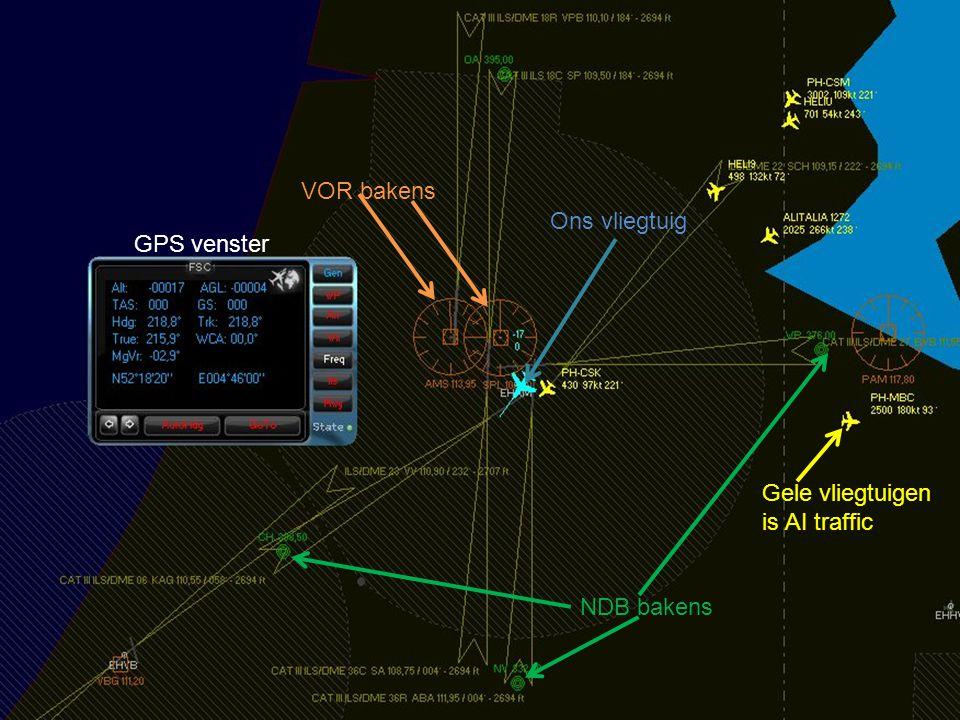 VOR bakens Ons vliegtuig GPS venster Gele vliegtuigen is AI traffic