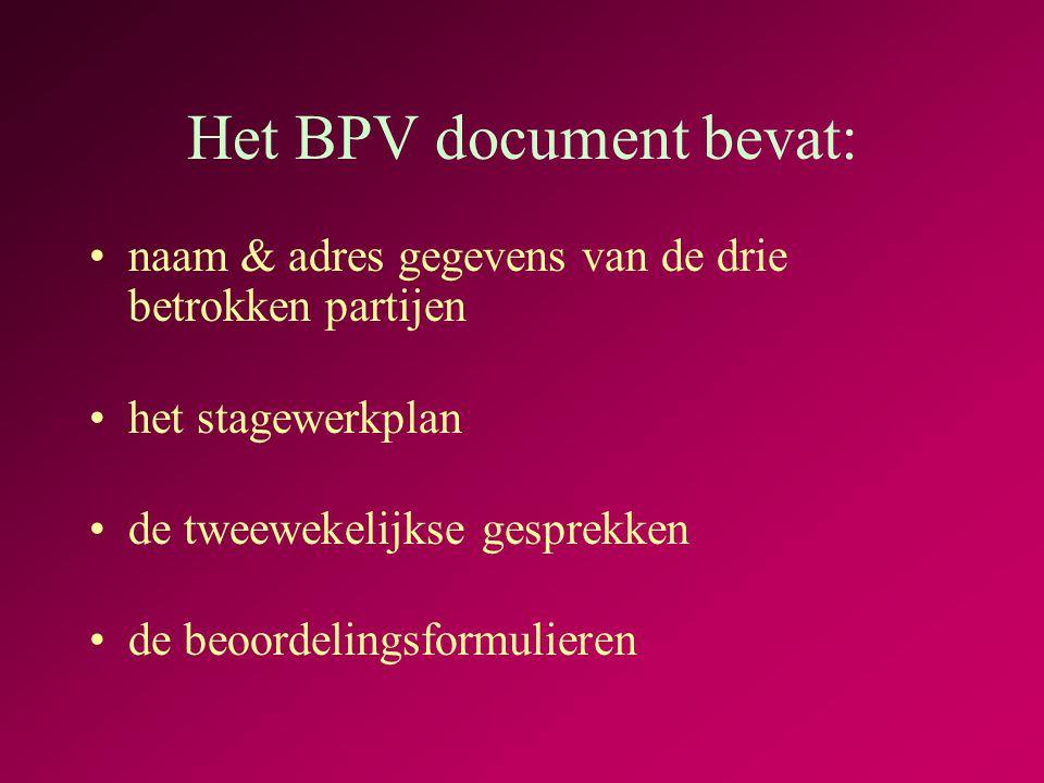 Het BPV document bevat: