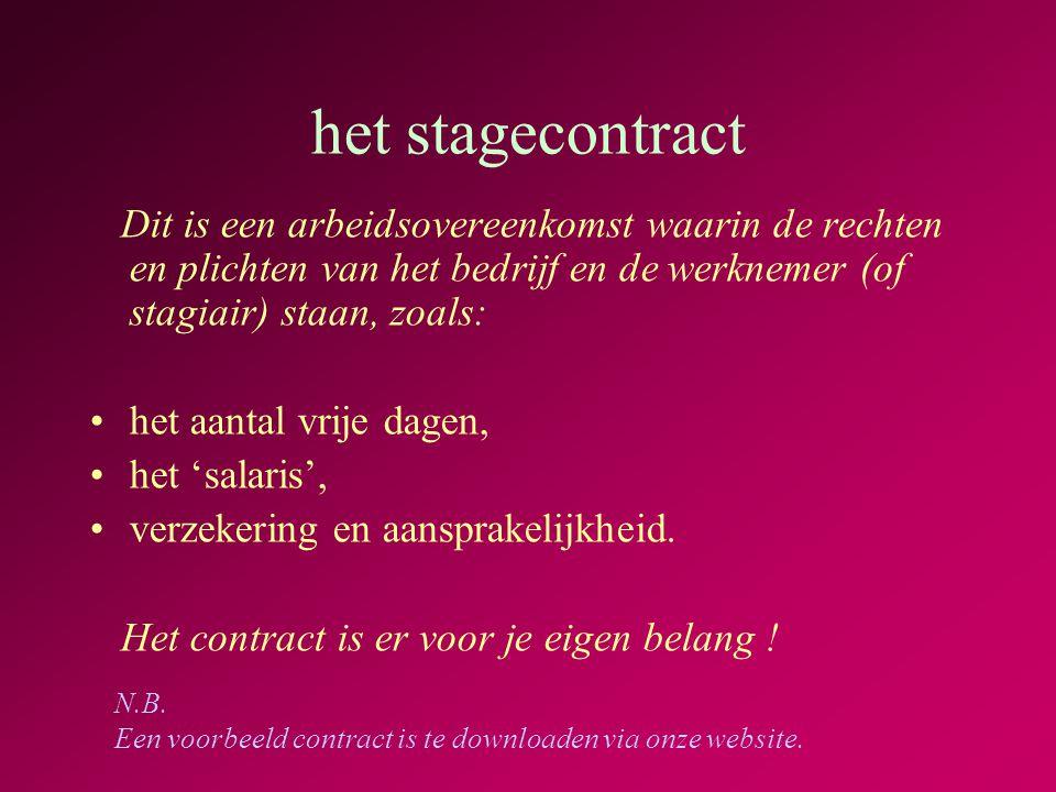 het stagecontract Dit is een arbeidsovereenkomst waarin de rechten en plichten van het bedrijf en de werknemer (of stagiair) staan, zoals:
