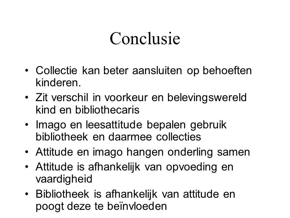 Conclusie Collectie kan beter aansluiten op behoeften kinderen.